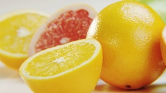 Citrus Fruits on White Background Stock Footage