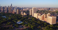Aerial of Chicago's North Shore from Lake Michigan Stock Footage