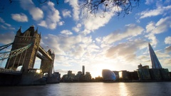 Sunset over London Tower Bridge and Shard, river Thames, still timelapse Stock Footage
