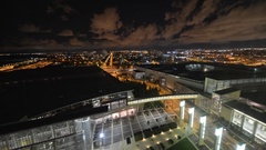 Time lapse of McCormick Place in Chicago at night Stock Footage
