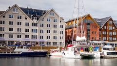 View of a marina in Tromso, North Norway Stock Footage
