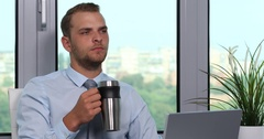 Businessman Manager Sit Drinking Coffee Relax in Office Desk Breakfast Beverage Stock Footage