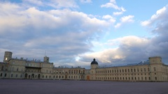 Empty parade ground in front of old Gatchina castle Stock Footage