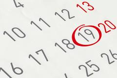 Mark the date number 19, focus point on the red marked number. Stock Illustration