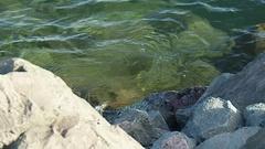 Lake Superior Series- Water on Rocks Stock Footage