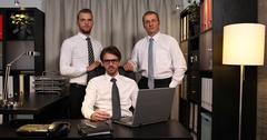Portrait Business Men Colleague People Looking Camera Corporate Office Activity Stock Footage