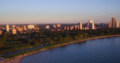 Aerial shot of Chicago's North Side featuring Lake Shore Drive Stock Footage