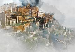 View to the Gordes, is a very beautiful hilltop village in France Stock Illustration