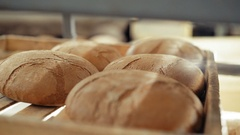 Close up of many fresh loafs of wheat bread 4K Stock Footage