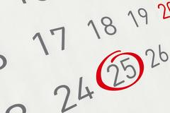 Mark the date number 25, focus point on the red marked number. Stock Illustration