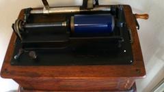 4k Edison Talking Machine Phonograph Turning Winding Crank Stock Footage