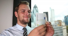 Businessman Manager Counting Euro Bills Financial Achievement London Skyline Day Stock Footage