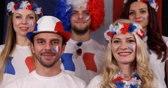 Happy French Supporters People Presentation Sport Team Fans Smiling Look Camera Stock Footage