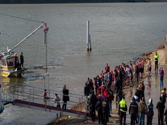 Polar Plunge in Pittsburgh on cold winter day 4k Stock Footage