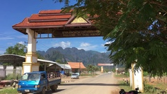 View of Vang Vieng town in Laos MOV Stock Footage