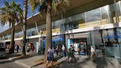 Hospital del Mar Facade and Main Entrance in Barcelona Stock Footage