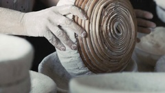 Woman's hands sieving flour. Slowly Stock Footage