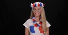 Happy French Supporter Woman Smile Presentation Hello Salute Sport Fan Concept Stock Footage