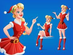 Pretty woman in Santa outfit in various poses. Vector set. Stock Illustration