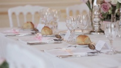 Tableware decor arrangement of festive table close up changing rack focus detail Stock Footage