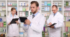 Pharmacists Group Team Work Pharmacy Shop Activity Concept Health Care Drugstore Stock Footage