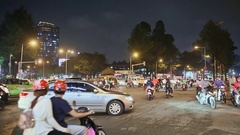 Night traffic in City. Vietnam. Asia Stock Footage
