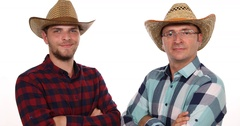 Positive Handsome Farmer Men Presentation Look Camera Confident Posing Smiling Stock Footage