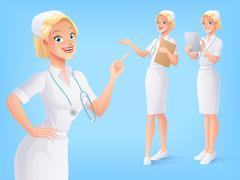 Smiling medical nurse in uniform in various poses. Vector set. Stock Illustration