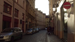 PRAGUE, CZECH REPUBLIC - DECEMBER 3, 2016. Local teenagers on the street of Old Stock Footage