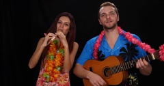 Young Couple Sing World Guitar Music Guitarist Flutist Play Instrument Recorder Stock Footage