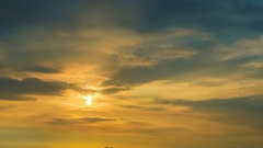 Time lapse of sunset sky at sea with Si Chang island background, Zoom out shot Stock Footage