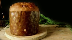 Christmas Panettone With Fireworks Stock Footage