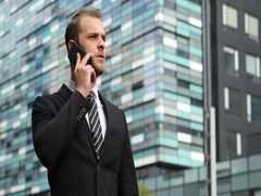 Businessman Talking Mobile Phone Negative No Answer Results Urban Scene Building Stock Footage
