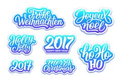 Christmas and New Year vector labels set Piirros