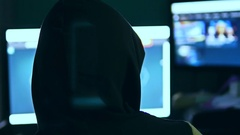 Hacker man, trying to breach security of a computer system internet search Stock Footage