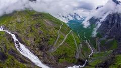 Troll's Path Trollstigen or Trollstigveien winding mountain road. Stock Footage