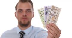 Banker Show Closeup Macro Shot Saudi Arabian Riyal Banknote Cash Money Economy Stock Footage