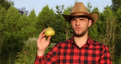 Farmer Man Holding Organic Pear and Talking Finding Eco Solutions Orchard Trees Stock Footage