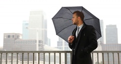 Successful Business Man Relax Meeting Date Wait Rainy Day Weather London Skyline Stock Footage