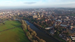 Aerial view flying towards Worcester Cathedral, UK. Stock Footage