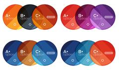Set of round option diagram template for your data or options Stock Illustration