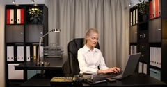 Disappointed Businesswoman Talk Phone Receiving Bad Sad News Office Room Desk Stock Footage