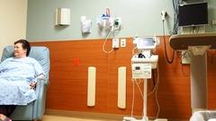 Panning visitation hospital room Stock Footage