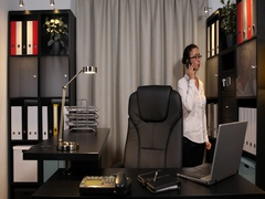 Attractive Businesswoman Cooperation Dialogue at Mobile Phone in Office Indoor Stock Footage