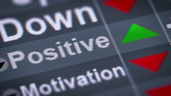 """""""Positive"""" on the screen. Up. Looping. Stock Footage"""