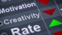"""Creativity"" on the screen. Down. Looping. Stock Footage"