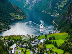 Geiranger fjord, Norway Stock Footage