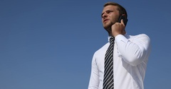 Busy Business Man Talking Mobile Phone Partner Call Airplane Taking Off Airport Stock Footage