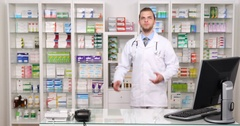 Pharmacist Man Talk Pharmacy Store Introduction Drugstore Presentation Concept Arkistovideo