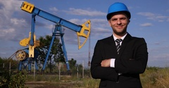 Successful Oil Pump Investment Presentation Businessman Smiling Looking Camera Stock Footage